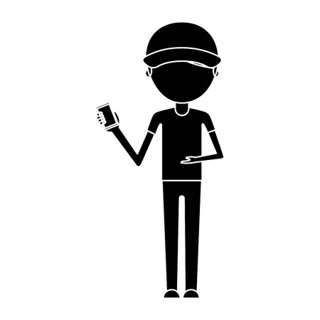 delivery worker with cellphone avatar character vector illustration design