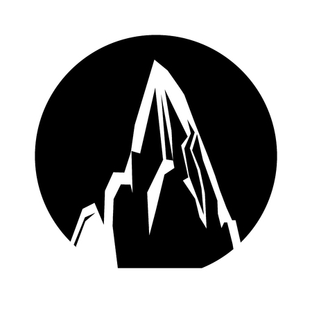 Mountain peak emblem icon vector illustration design