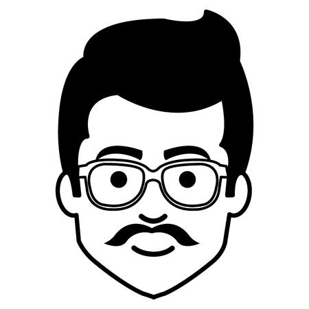 young man casual avatar with glasses vector illustration design