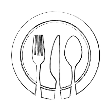 set cutlery with dish tools icon vector illustration design