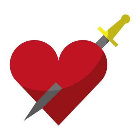 Heart love with sword romantic icon vector illustration design