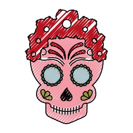 Skull artistic tattoo isolated icon vector illustration design Illustration