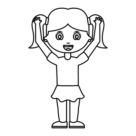 cute little girl student with hands up vector illustration design