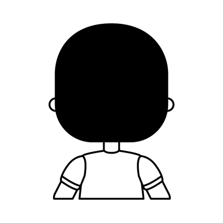 cute little boy with back character vector illustration design