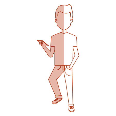 young man with smartphone casual avatar vector illustration design Illustration