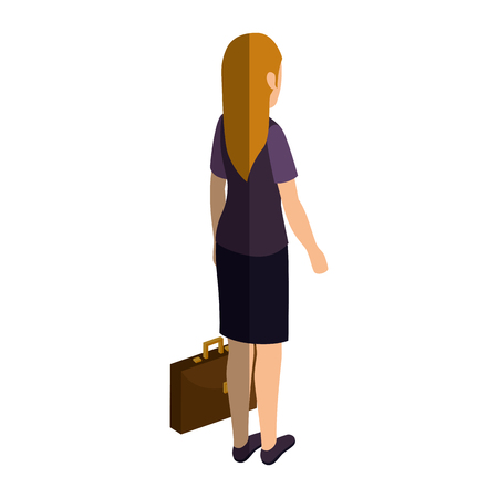 businesswoman isometric avatar character with portfolio vector illustration design