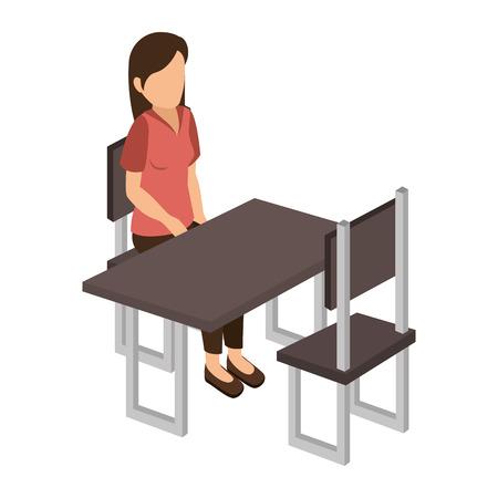 businesswoman isometric avatar character sitting in restaurant vector illustration design