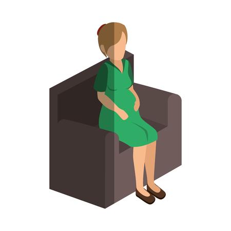 businesswoman isometric avatar character sitting vector illustration design