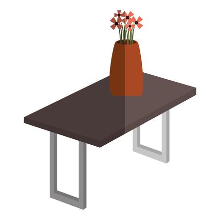 table wooden with flower vase isometric icon vector illustration design Ilustração