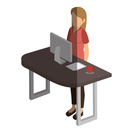 businesswoman in the office isometric avatar character vector illustration design Ilustração