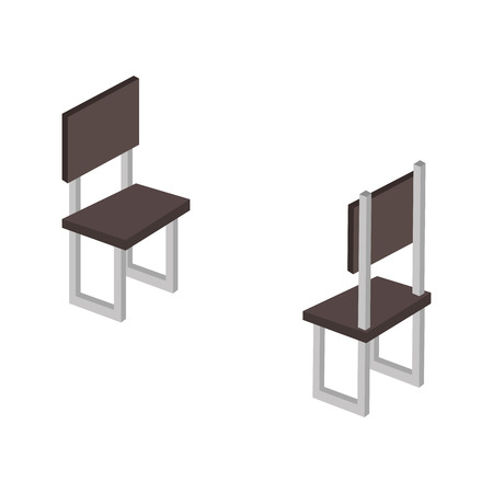 chairs forniture isometric icon vector illustration design