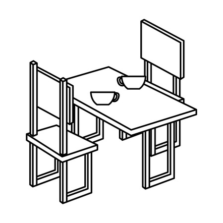table with chair isometric vector illustration design Stock Vector - 77704414