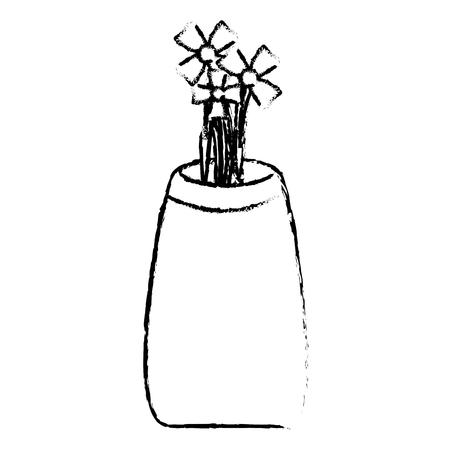 flower vase isometric icon vector illustration design