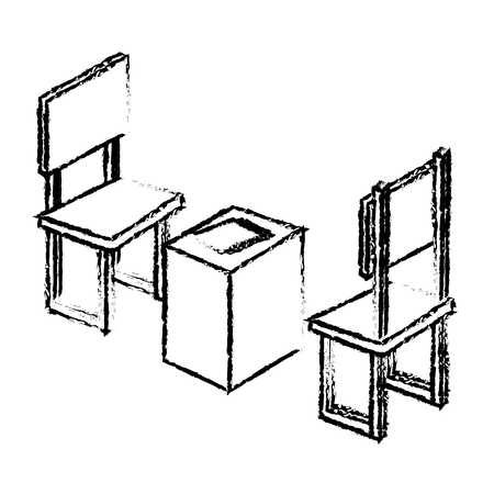 table with chair isometric vector illustration design Illustration