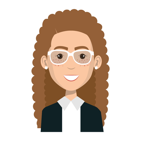 businesswoman with glasses avatar character icon vector illustration design