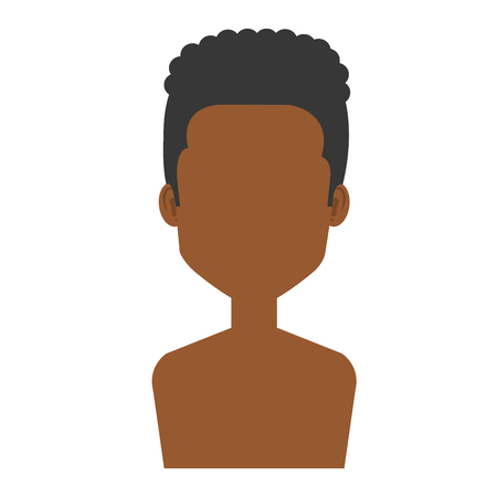young black man shirtless avatar character vector illustration design