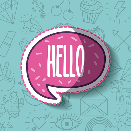 hello lettering girly icon over background image vector illustration design