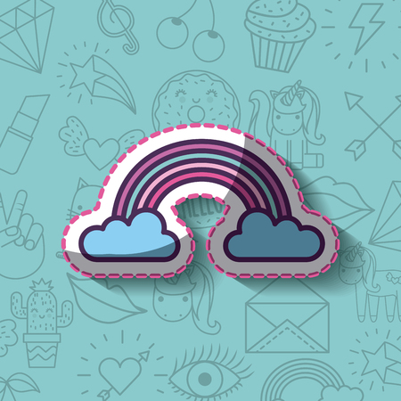 rainbow with cloud girly icon over background image vector illustration design