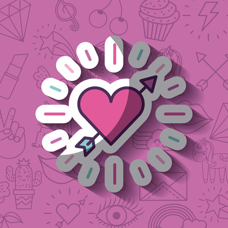 cartoon heart with arrow girly icon over background image vector illustration design