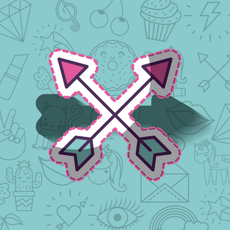 crossed arrows girly icon over background image vector illustration design