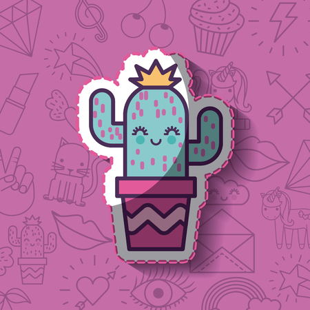 happy cactus with crown girly icon over background image vector illustration design Illustration