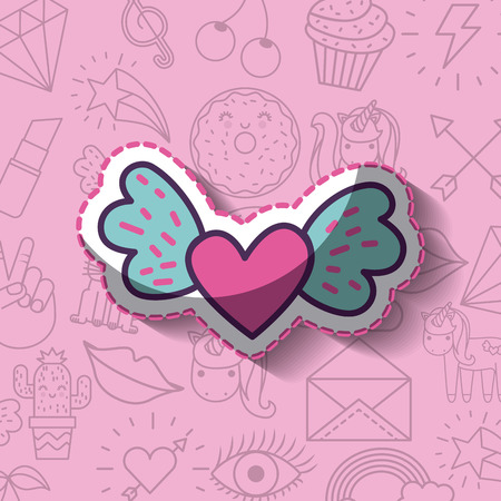 cartoon heart girly icon over background image vector illustration design