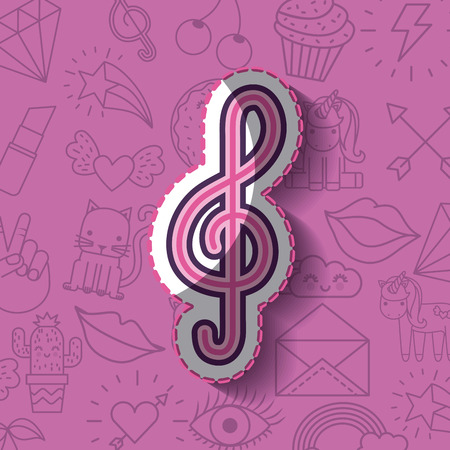 clef note girly icon over background image vector illustration design