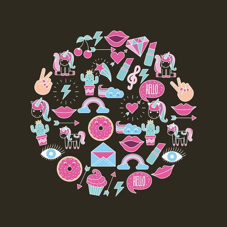 assorted girly icons over background image vector illustration design Illustration