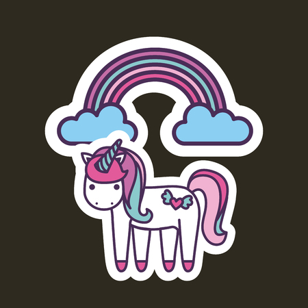 unicorn girly icon over colorful background image vector illustration design