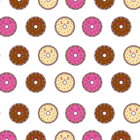 happy donuts girly wallpaper or background image vector illustration design