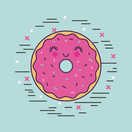 happy donut girly icon over background image vector illustration design Illustration