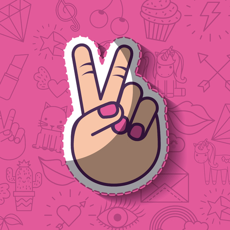 peace and love hand gesture girly icon over background image vector illustration design Illustration