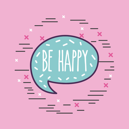 be happy lettering girly icon over background image vector illustration design