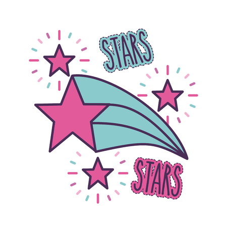 stars and lettering girly icon image vector illustration design