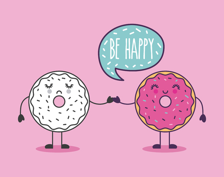 happy donut holding hand be happy lettering girly icon image vector illustration design