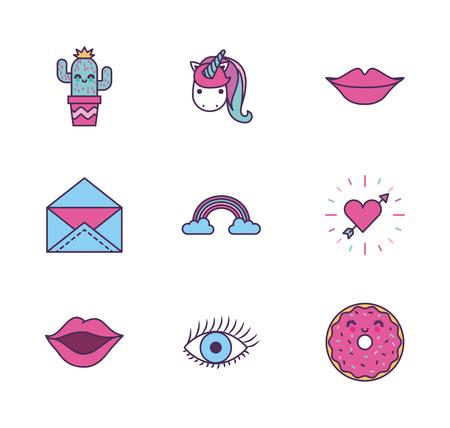 assorted girly icons image vector illustration design Illustration