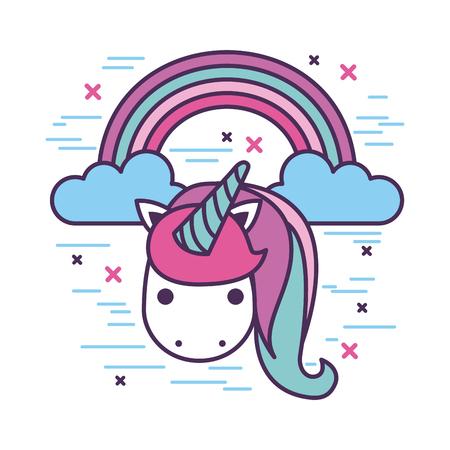 unicorn and rainbow girly icon image vector illustration design Illustration