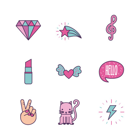 assorted girly icon image vector illustration design