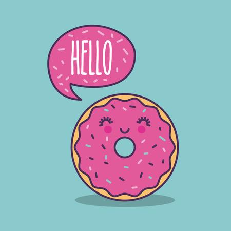happy donut hello lettering girly icon image vector illustration design Illustration