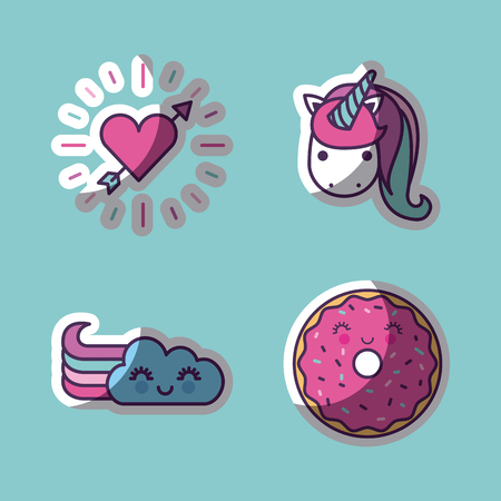 unicorn and other girly icons image vector illustration design