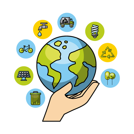 planet earth with eco friendly related icons image vector illustration design