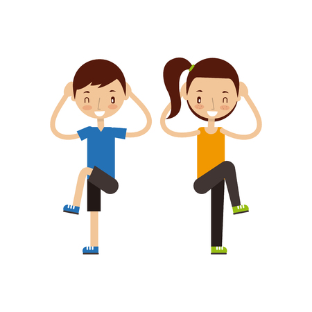 man and woman exercising happy fitness people image vector illustration design