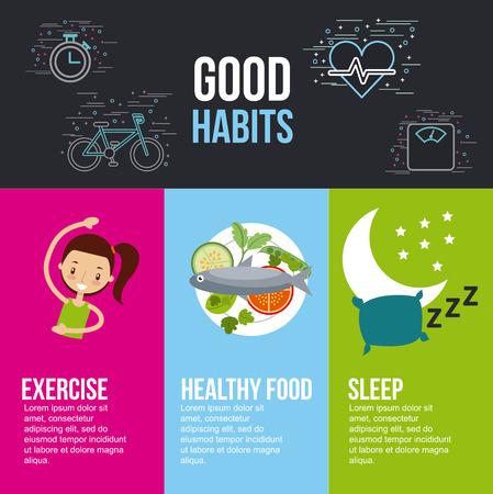 buenos hábitos ejercicio saludable alimentos dormir letras con iconos relacionados diseño de ilustración vectorial