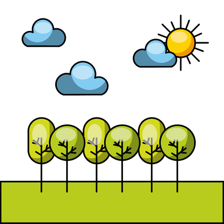 wilderness area: forrest with clouds and sun image vector illustration design