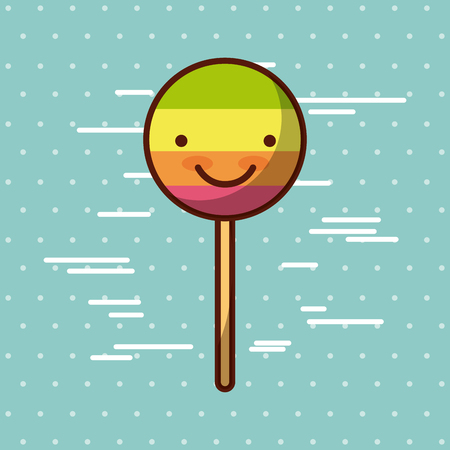 lollipop kawaii food with background colorful image vector illustration design