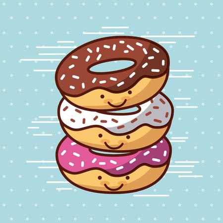 Donut Kawaii eten met achtergrond kleurrijke afbeelding vector illustratie ontwerp Stock Illustratie