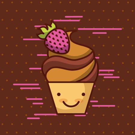 背景イメージのカラフルなベクトル イラスト デザインのカップケーキかわいい食品