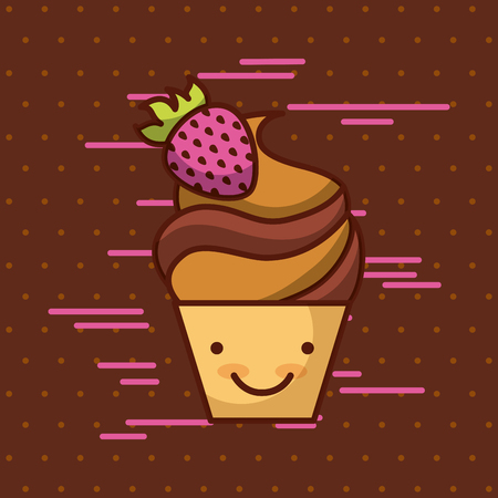 cupcake kawaii food with background colorful image vector illustration design Иллюстрация