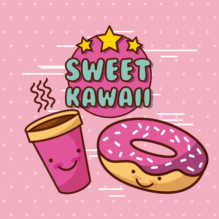 Zoete kawaii lettering eten met achtergrond kleurrijke afbeelding vector illustratie ontwerp
