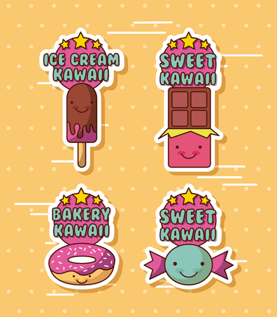 ice cream sweet bakery kawaii food with background colorful image vector illustration design